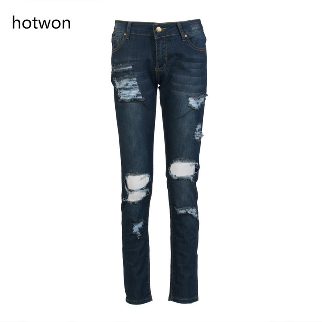 50b3685536ce93 Plus Size Women Denim Skinny Jeans Washed Ripped Hole Pants Patch Mid Waist  Casual Pencil Slim Trousers Blue 3XL Boyfriend Jeans