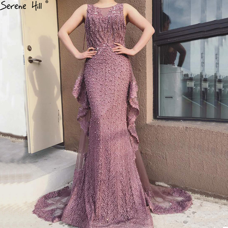 New Mermaid Sleeveless Sexy Evening Dresses Pearls Fashion Off Shoulder Evening Gowns 2019 Serene Hill LA6527