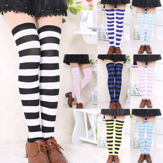 21df2c022df Fashion Japanese Candy Color Long Striped Stockings Sexy Sokken Vrouwen  Kawaii Women Over Knee High Socks Girls Lolita Stocking