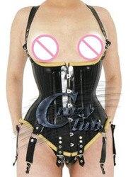 Женские латексные Корсеты Crazy club_100 %, черные латексные Корсеты ручной работы большого размера, латексная резиновая одежда, быстрая доставка