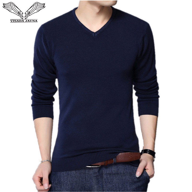 VISADA JAUNA 2017 Autumn Casual Winter Men Sweater V-neck Fashion Mens Pullover High Quality Knitting Sweaters Men Sweater N6622
