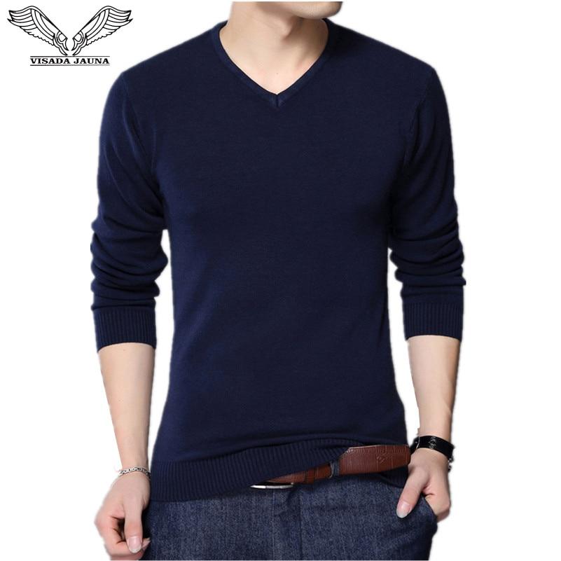 VISADA JAUNA 2017 Autumn Casual Winter Men Sweater V-neck Fashion Mens Pullover High Quality Knitting Sweaters Men Sweater N6622