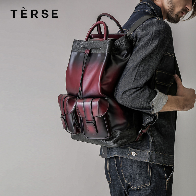 TERSE 2018 Hot sale vintage style genuine leather backpack for man woman fashion school bag 2 luxury colors custom service 9659