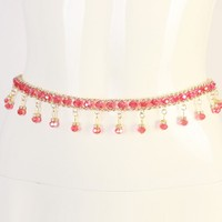 New Red Fringed Waist Fashion Female Belt Crystal Inlaid Thin Femme Belt Waist Chain Rhinestone Decorative
