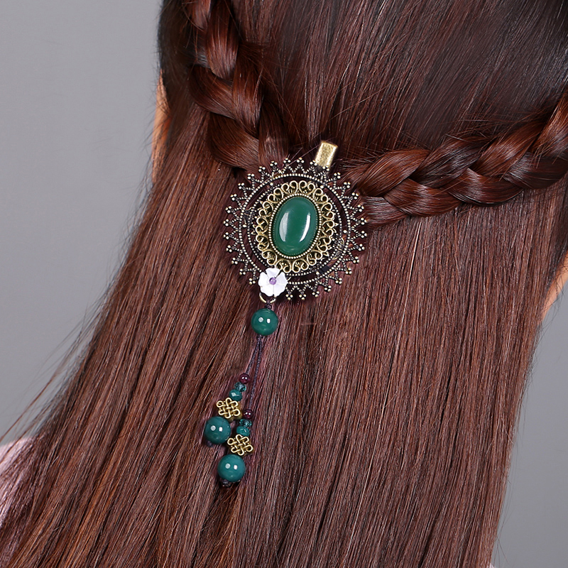 Hair Accessories Bride Hairpins Retro Hair Claw Clip Headband For Lady Jewelry Accessories Claw Handmade Green lysumduoe headband black hairpin women clip s shape barrette girl hairgrip hairgrips children hairpins jewelry hair accessories