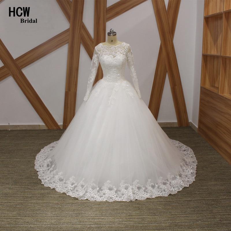 빈티지 이슬람 웨딩 드레스 긴 소매 감자 목 얇은 명주 그물 레이스 공주 웨딩 드레스 2019 새로운 아랍어 신부 가운 저렴한