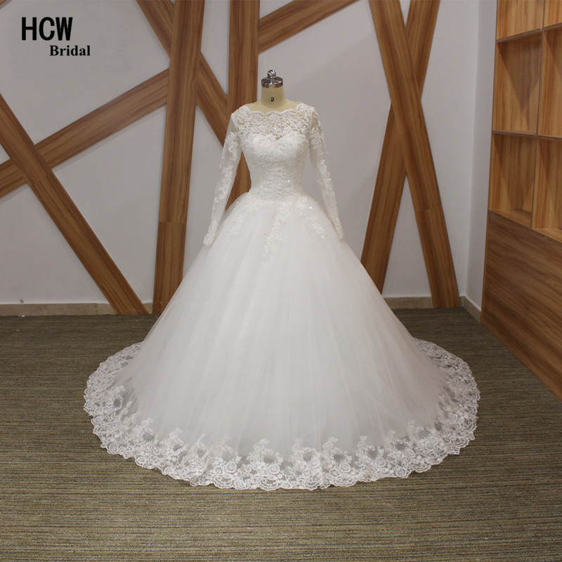 Pakaian perkahwinan muslimah vintaj lengan panjang scalloped leher tulle renda gaun pengantin puteri 2019 gaun pengantin arab baru murah