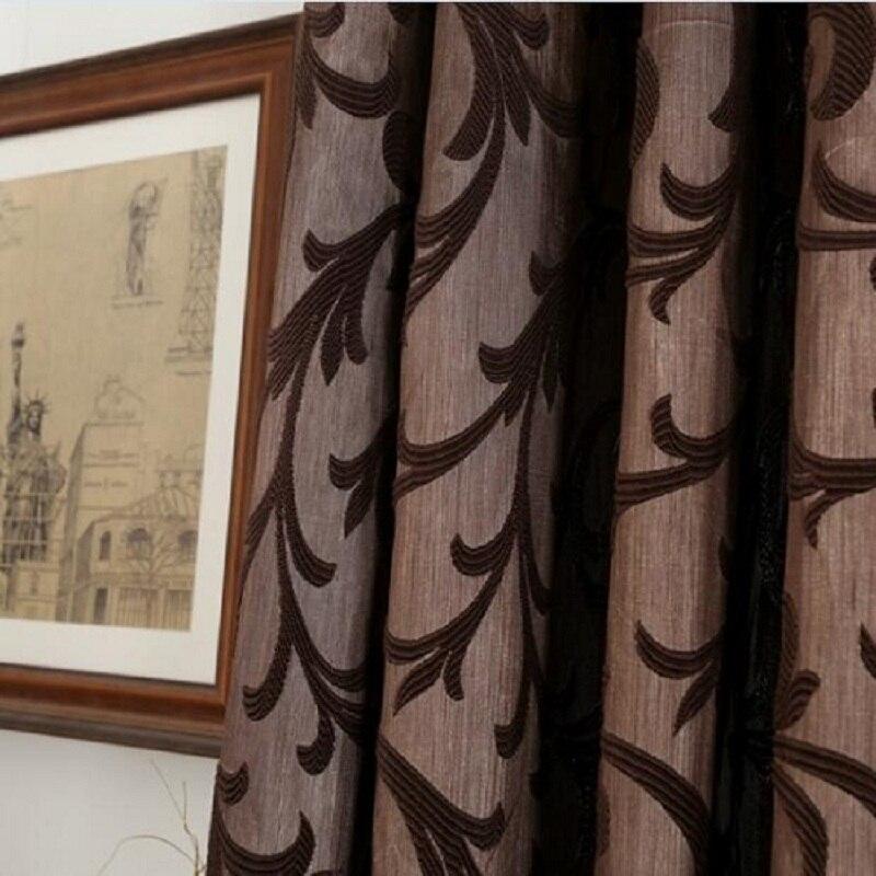 kopen goedkoop lozujoju korte verduisterende gordijnen voor slaapkamer woonkamer draad bladeren ontwerp bruin gordijn draperie stof voor keuken deur online