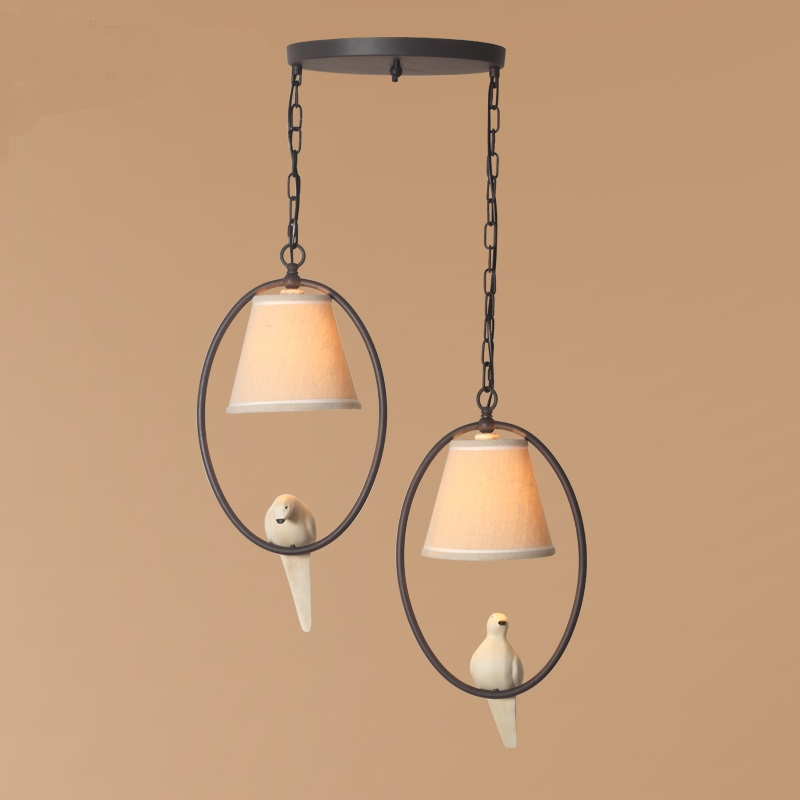 цена 1/2/3 heads lamps style country Pendant Lights art Nordic Mediterranean retro corridor Terrace Restaurant pastoral Bird онлайн в 2017 году