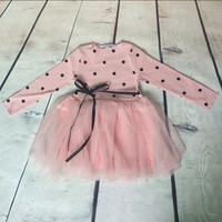 Wiosna Western Dziewczyna Ubranie Z Długim Rękawem Czarny Dots Dziewczynek suknia Delikatnego Tiulu Dziewczynek Tutu Sukienka Wstążka Dziewczynek odzież