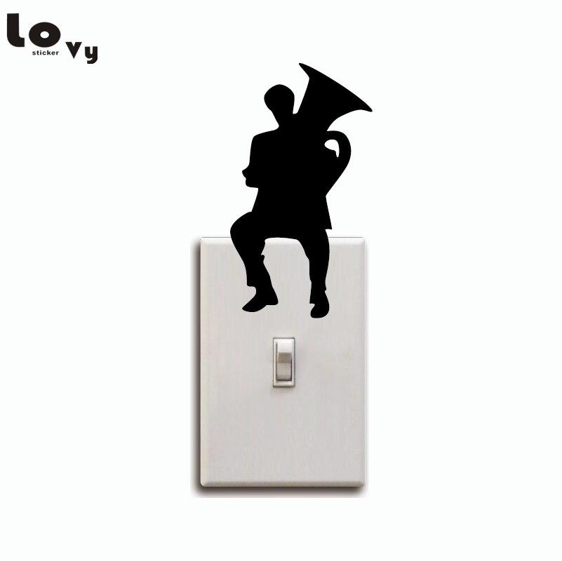 Человек, играющий Тубы силуэт выключатель света Стикеры мультфильм музыка стены винила Стикеры s Home Decor