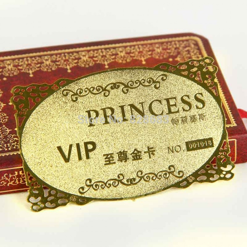 Steel Golden Business Card with Frosted Etching and Flower Frame metal card with custom design