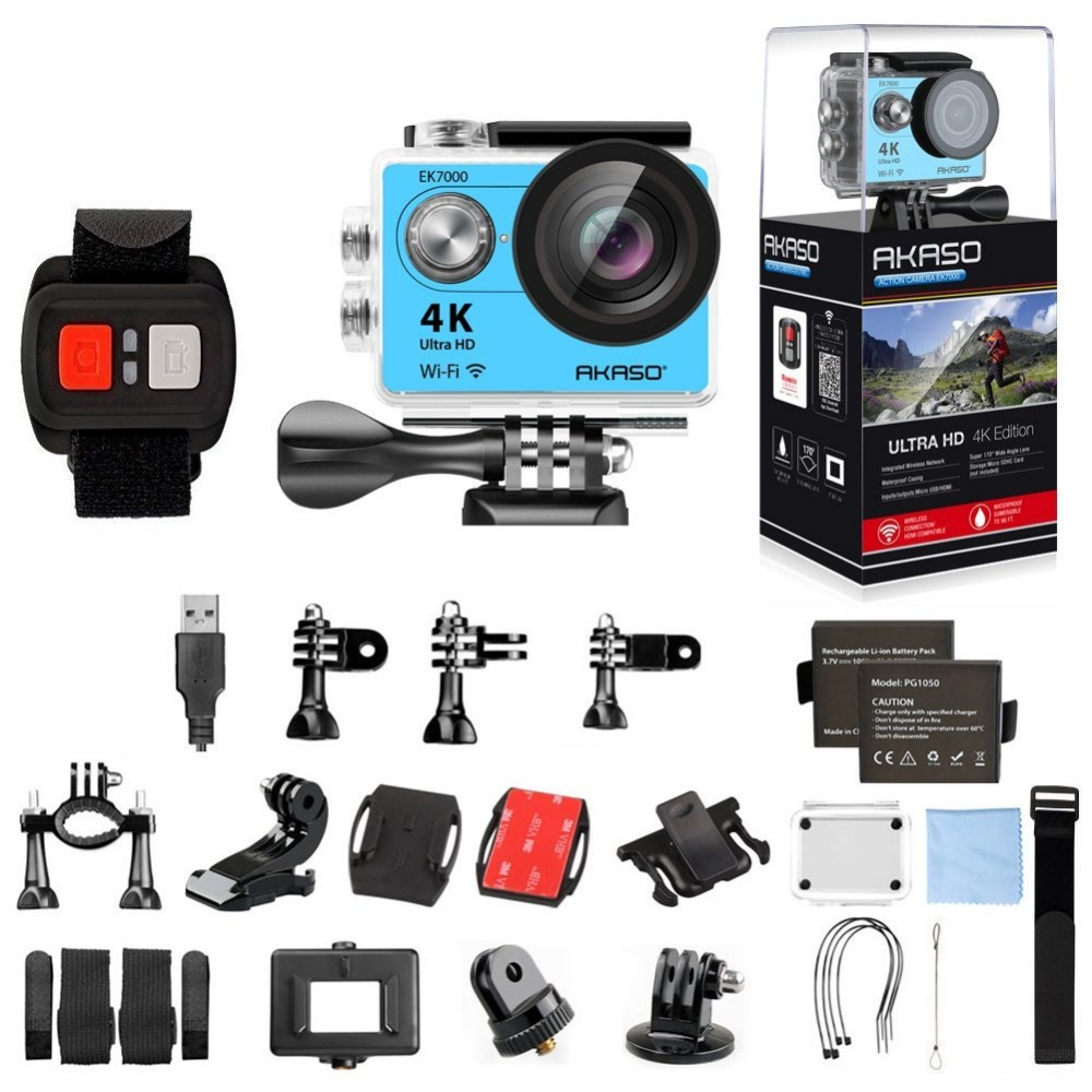 AKASO Original Blue EK7000 Star Action Camera 4K WiFi Sports DV Ultra HD 2.0 Touch Screen 30m Waterproof Remote Sport camera original eken action camera eken h9r h9 ultra hd 4k wifi remote control sports video camcorder dvr dv go waterproof pro camera