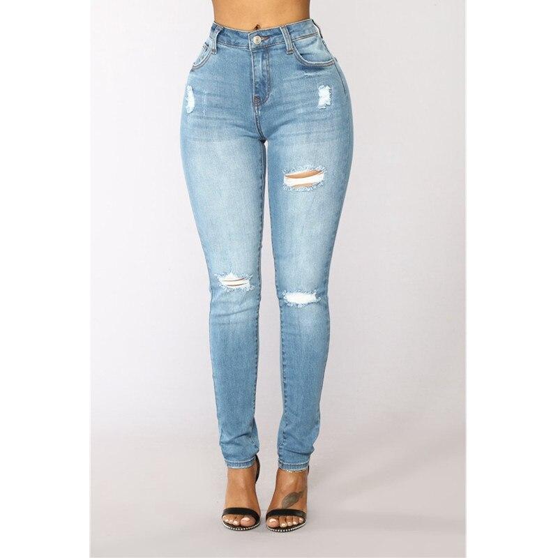 2018 Larga Cintura Mujeres Botón Lavado Skinny Denim Light Pantalones Casual Azul Jeans Blue Oscuro Lápiz Alta Llanura Mujer Fly Mom Ripped rrfwAnZS