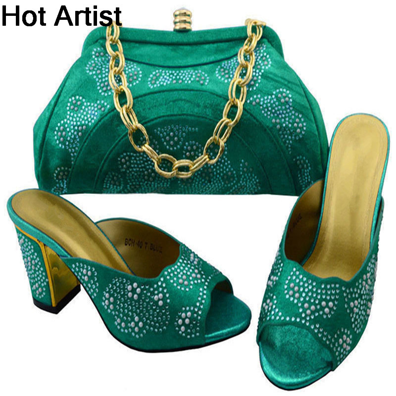 2017 New Arrival Rhinestone Shoes And Evening Bag Set Italy Style Woman High Heels Shoes And Bag For Party Size 38-43 BCH-404 itlian style rhinestone slipper shoes and matching bag set new africa high heels shoes and bag set for party size 38 43