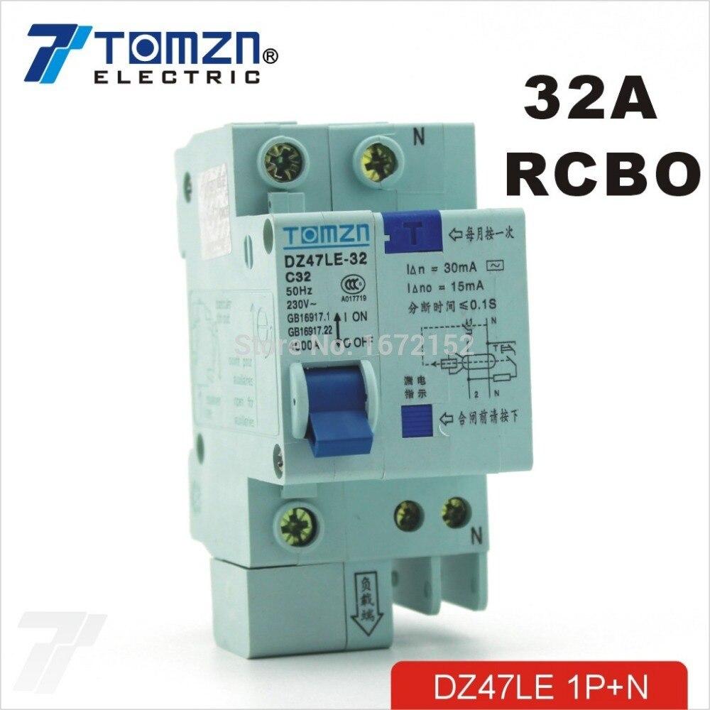 DZ47LE 2P 32A 230V~ 50HZ//60HZ Residual current Circuit breaker RCBO