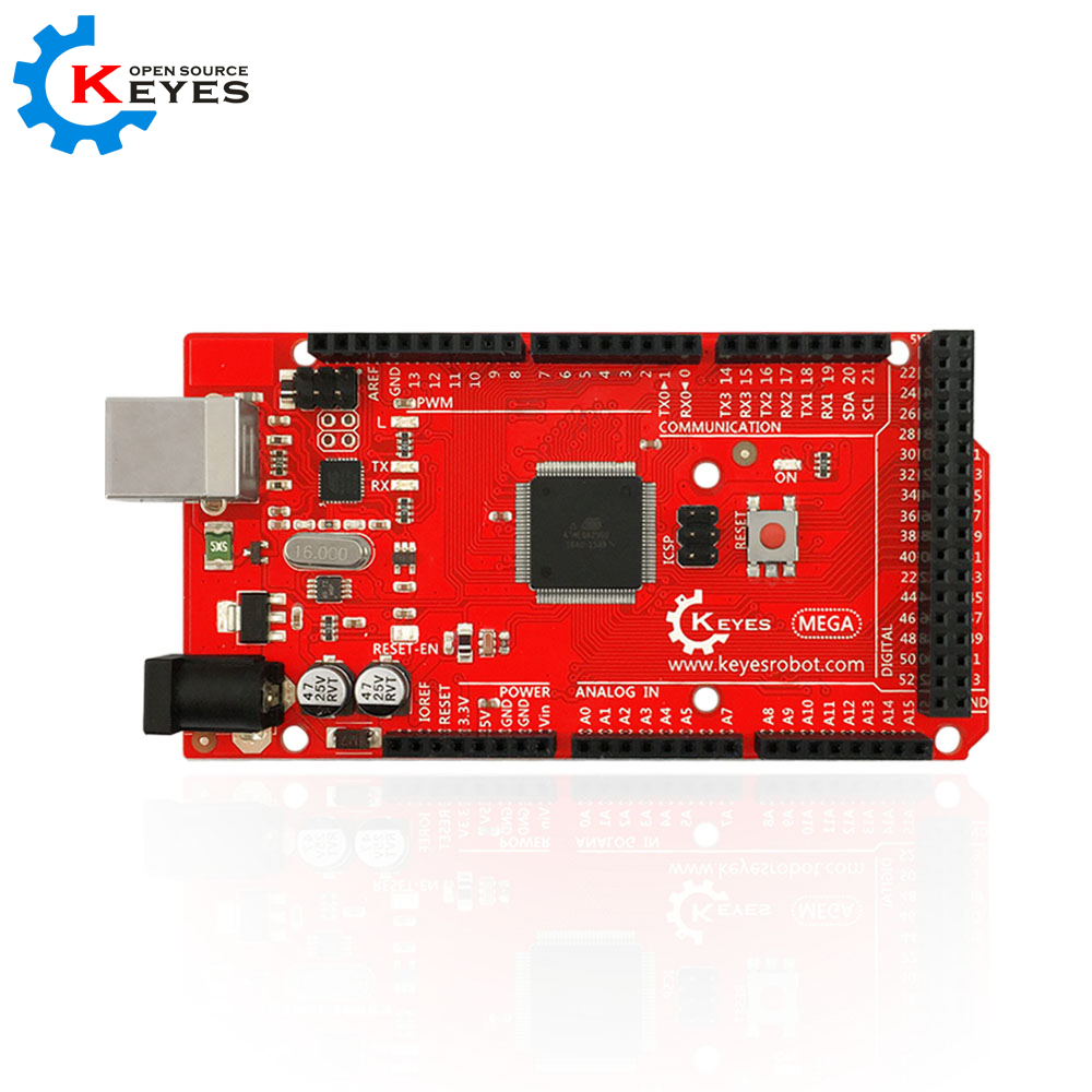 все цены на KEYES MEGA 2560 R3 development Board ATmega2560 ATMEGA16U2 + USB Cable Compatible with Arduino онлайн