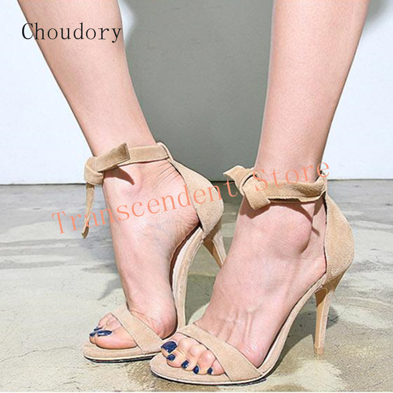 ФОТО Choudory Genuine Leather High Heel Pumps Women Butterfkly Knot Suede Sandals Summer Fashion Solid Elegant Women Celebrity Shoes