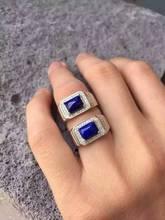 Natural blue lapis lazuli Ring Natural gemstone Ring S925 sterling silver trendy Elegant big square women men party gift Jewelry