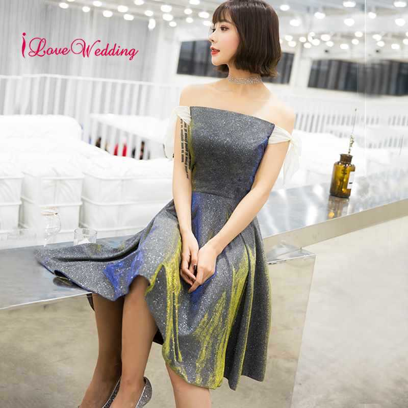 New Fashion 2019 Strapless Cocktail Dresses Elegant Dress A Line Knee Length Sequin Fabric Short Party Gown