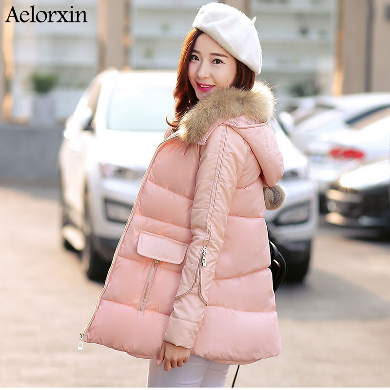 ФОТО Long Womens Winter Jackets and Coats Thick Down Cotton Jacket  A Version Big Fur Collar Sweet Beautiful Coat 2016 New Aelorxin