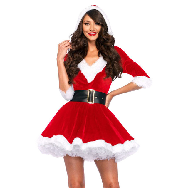 51ddb5808b7 New Arrival Christmas Dress Women Christmas Costume For Adult Red Velvet  Fur Dresses Hooded Sexy Female Santa Claus Costume-in Anime Costumes from  Novelty ...