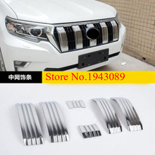 2017 2018 NEW! ABS Chrome Front Center Grille Grill Cover Trim 6pcs For Toyota Prado FJ150 LC150 Car styling