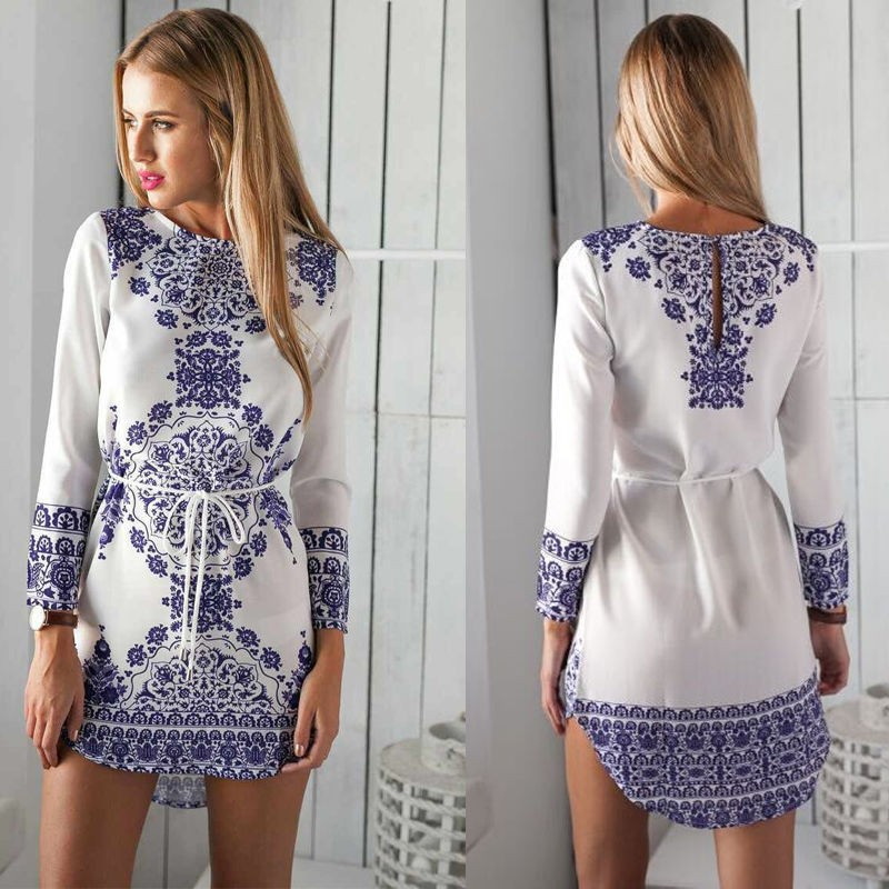 Adogirl New Spring Autumn Women Dress Long Sleeve Blue And White