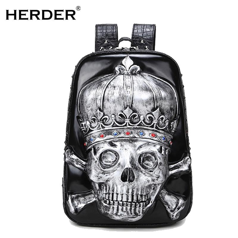 HERDER Men Women leather Backpacks 3D skull printing Leisure anti thief Laptop Teenager School travel Large Capacity Bag men s 3d printing skull