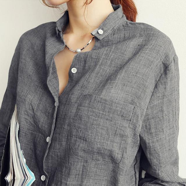 Chemisier Femme Womens Tops Fashion 2018 Autumn Linen White Shirt Women Long Sleeve Blouse Korean Woman