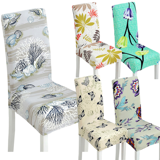 Chair Covers Vintage Kid Chairs 1 Pc Spandex Elastic Butterfly Beautiful Flowers Pattern Dustproof Stretch Modern Dining Party