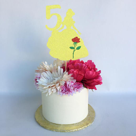 Aliexpress Buy Belle Cake Topper Glitter Topper Birthday Party Mesmerizing Princess Belle Decorations