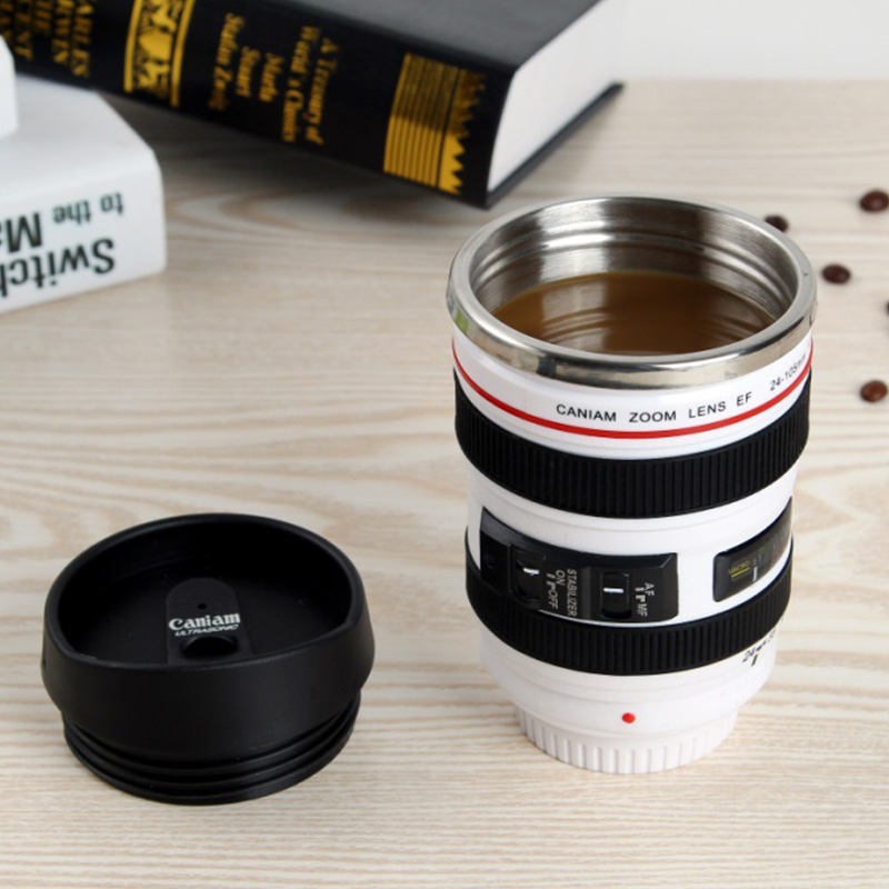 Coffee Mug Cup Travel Mugs Creative SLR Camera Lens Plastic Stainless Steel Eco-Friendly Tea Water Cup With Lid Dropshipping
