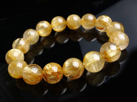 002013 AAA Natural Brazil Rare Needle Gold Rutile Quartz Crystal Round Bracelet