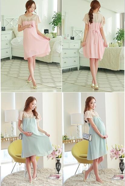 06d0d3ee0 Ropa para mujeres embarazadas 2017 ropa de maternidad vestidos de las  mujeres embarazadas del verano fresco gasa dress patchwork 2 colores en  Vestidos de La ...