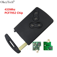Okeytech 1Pcs New High Quality All Smart 4 Buttons Remote Key 433Mhz PCF7952 Chip For Renault
