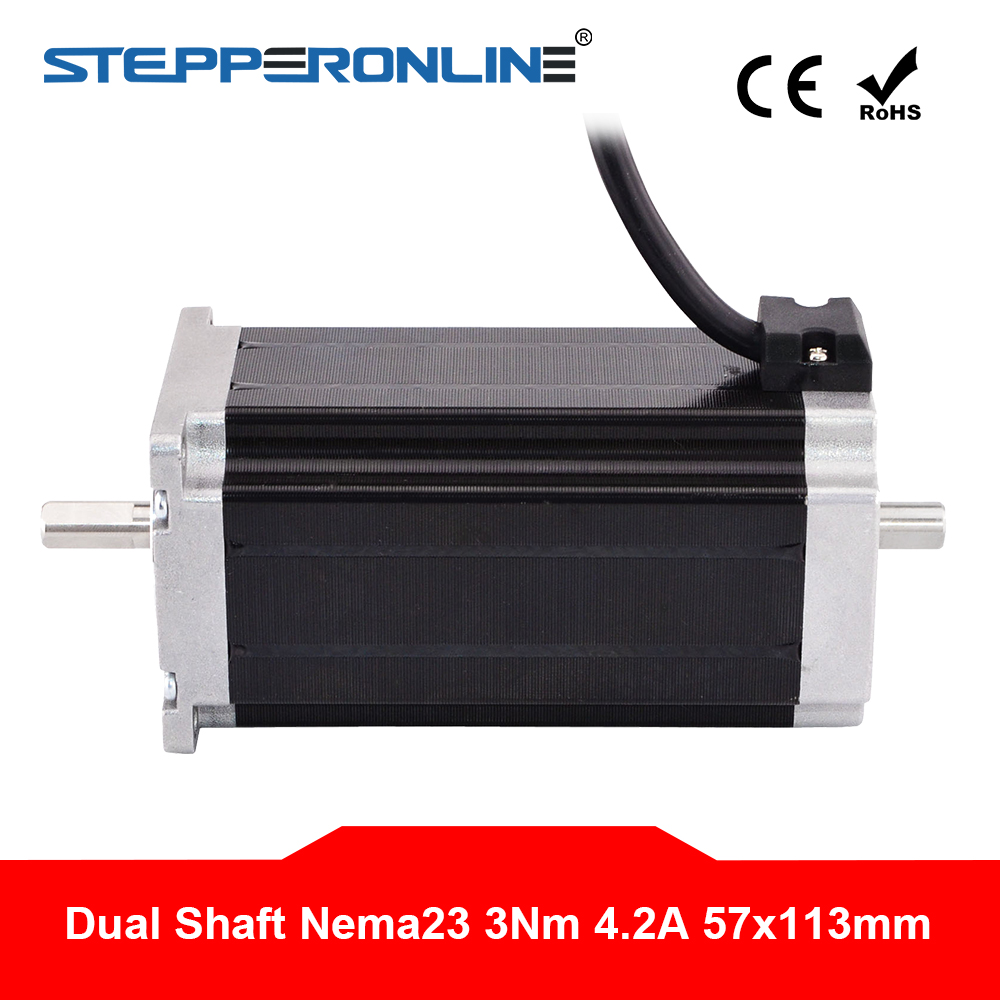 Dual Shaft Nema 23 Step Motor 113mm 3Nm(425oz.in) 4.2A 4-lead Nema23 Stepper Motor For CNC Router/CNC Milling Machine