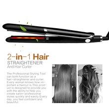 2 in 1 Hair Straightener&Curls Hair Anti-static Ceramic Tourmaline Straightening Flat Hair Iron Styling Fast Heating Hairs Board цена 2017