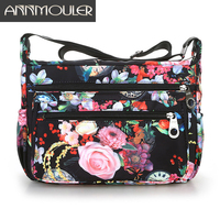 Annmouler High Quality Women Shoulder Bag 10 Colors Bag Oxford Fabric Casual Bag Waterproof Floral Print