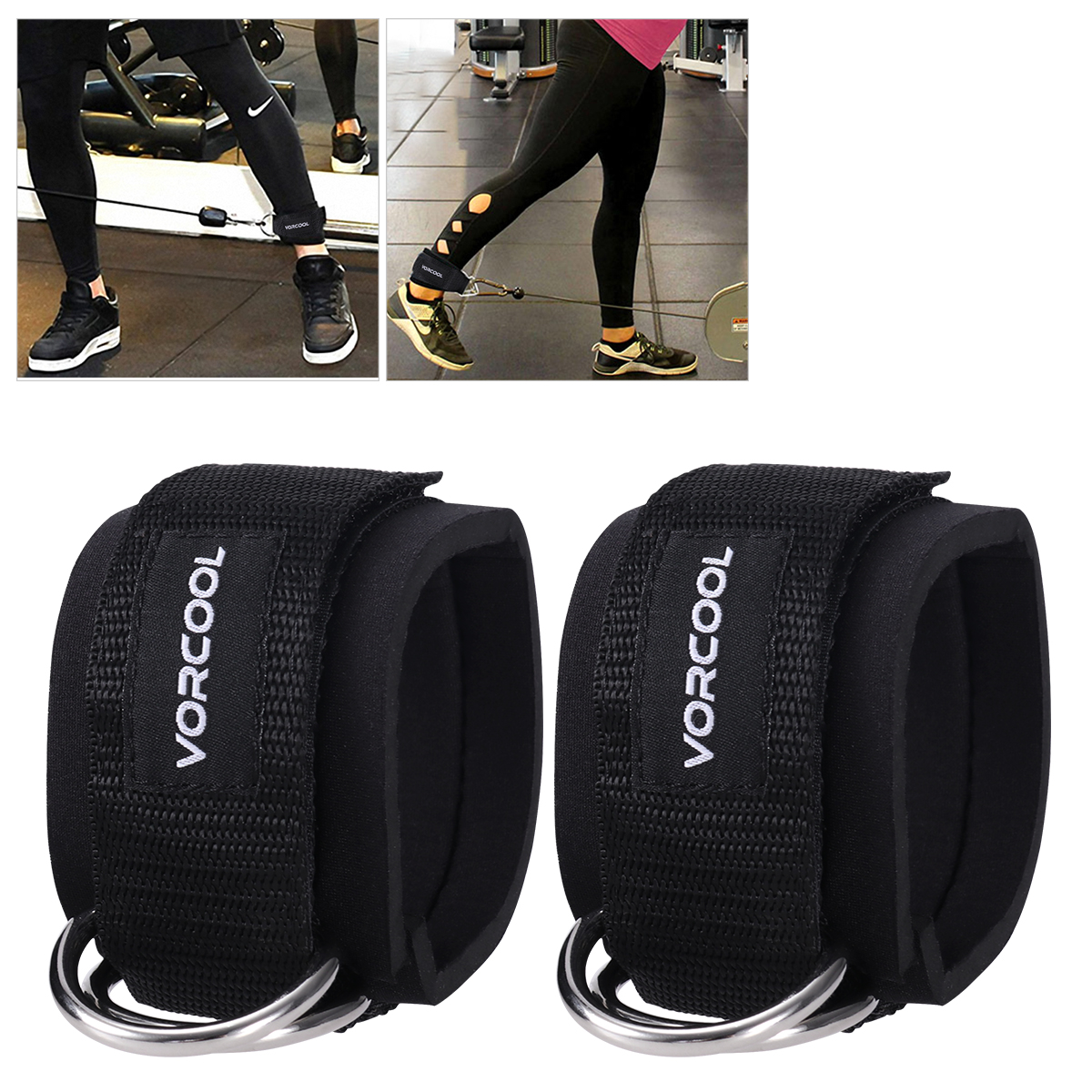 Ankle Support Frank 2pcs Butt Leg Weights Exercises Sport Ankle 24m Strap Padded Adjustable D-ring Ankle Cuffs For Gym Workouts Cable Machines Professional Design