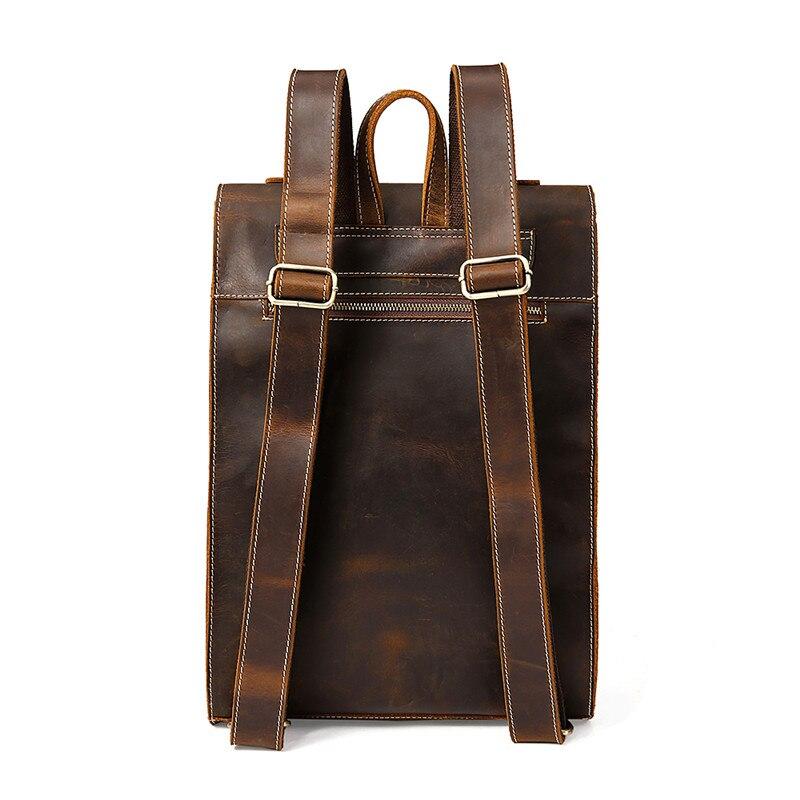 Sac à dos de mode en cuir de vache haut de gamme sac à dos de voyage pour hommes d'affaires sac en cuir de grande capacité pour étudiants sac à dos de Magazine - 3