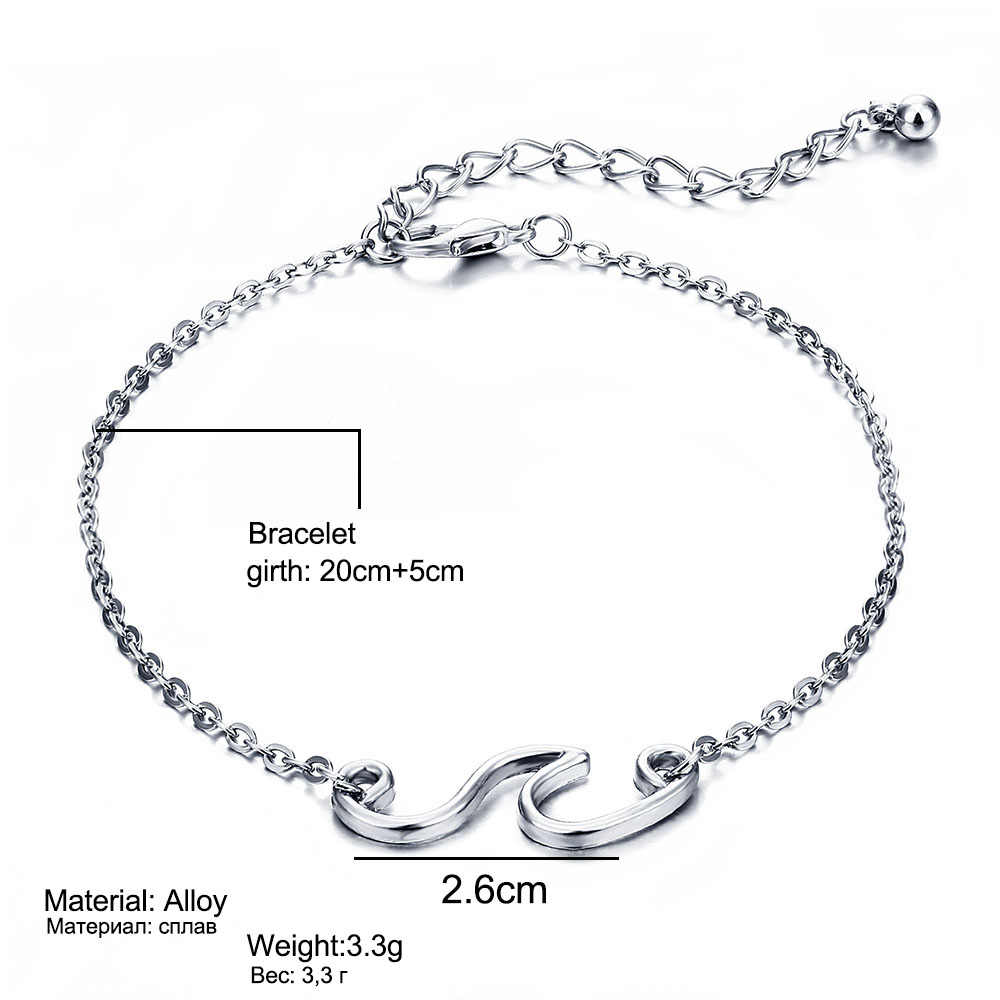 FAMSHIN Fashion wielowarstwowe bransoletki plażowe na kostkę dla kobiet Vintage Beach fale morskie wisiorek bransoletka na kostkę Charm Chain biżuteria na stopy 2018