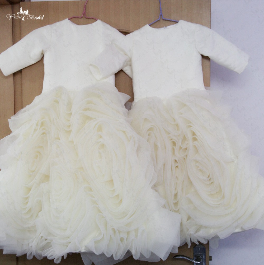 FG41 Champagne   Flower     Girl     Dresses   Organza Ruffles Skirt Long Sleeve Communion   Dresses