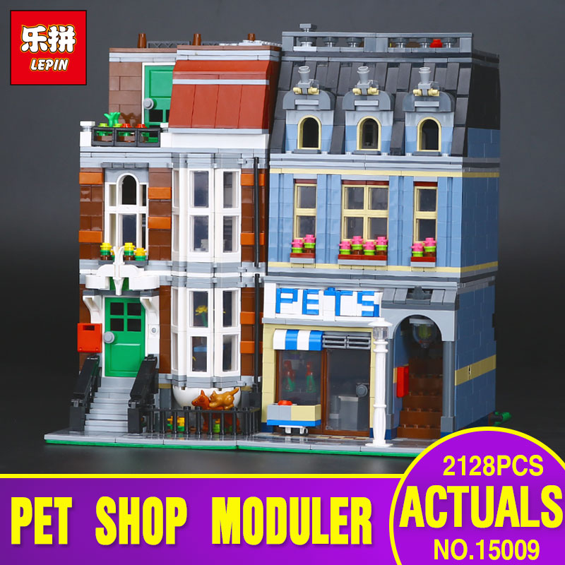 City Street Pet Shop Supermarket Model LEPIN 15009 Building Block Kids Toy Gift  Compatible with 10218 for children days' gift lepin 16008 creator cinderella princess castle city 4080pcs model building block kid toy gift compatible 71040