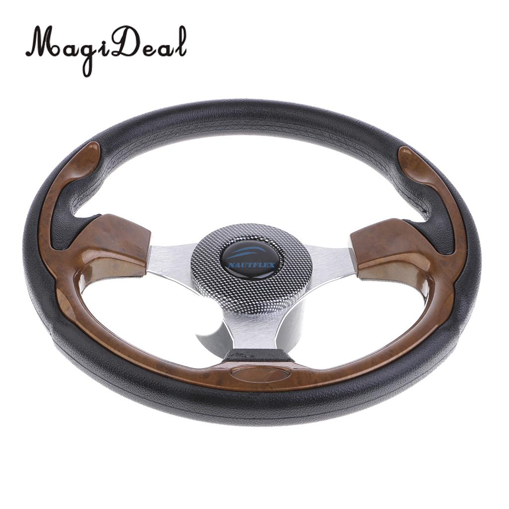 MagiDeal 320mm Aluminum Alloy Marine Boat Pontoon Steering Wheel 3 Spoke 3 4 Shaft for Inflatable