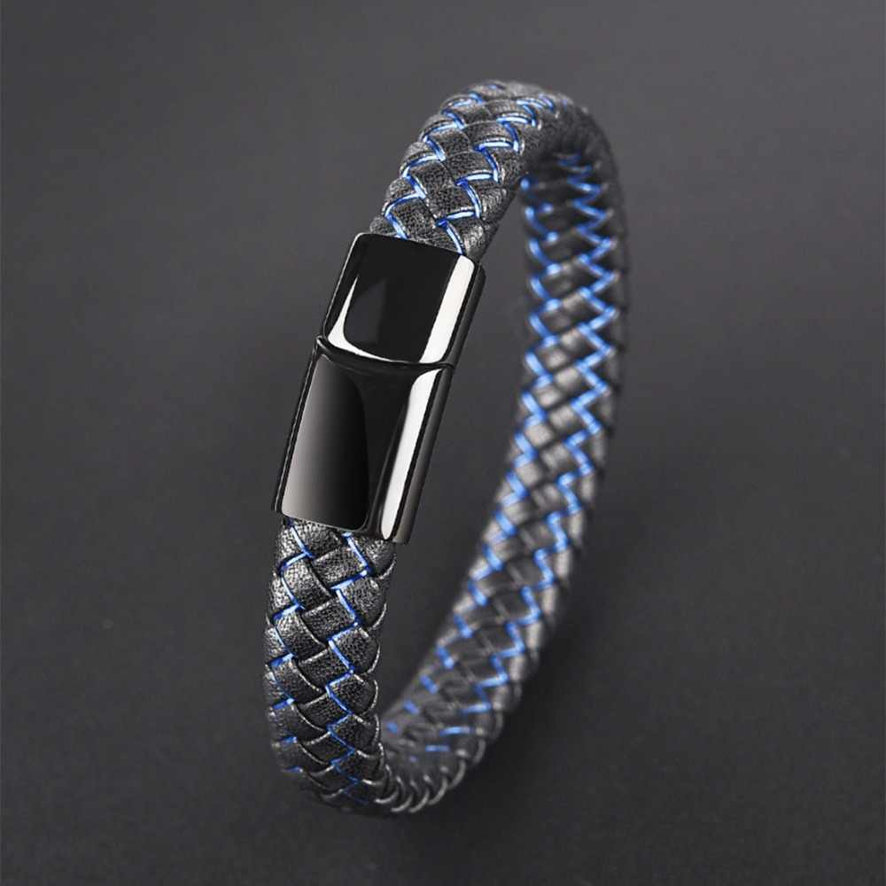Jiayiqi New Men Jewelry Punk Black Blue Braided Leather Bracelet for Men Stainless Steel Magnetic Clasp Fashion Bangles Gifts