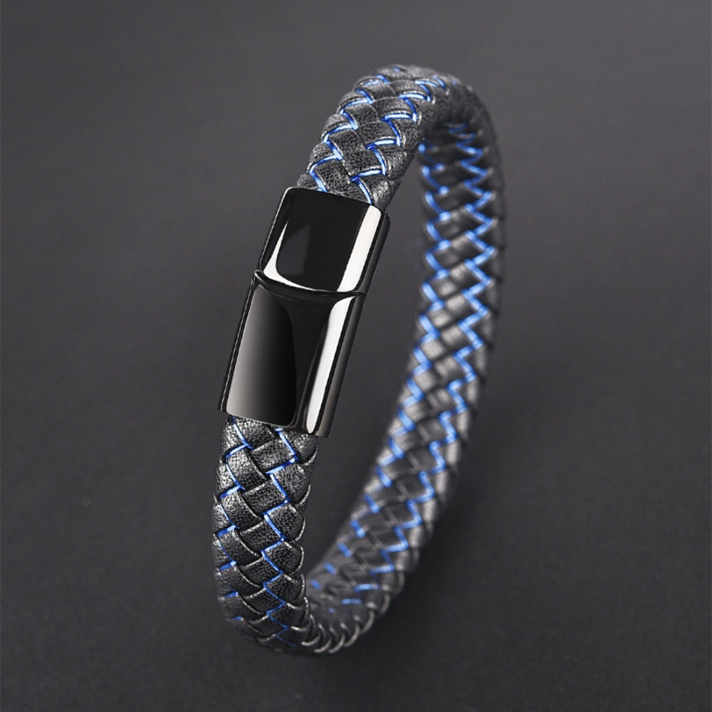 Jiayiqi New Men Jewelry Punk Black Blue Braided Leather Bracelet for Men Stainless Steel Magnetic Clasp
