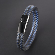 Jiayiqi New Men Jewelry Punk Black Blue Braided Leather Bracelet for Stainless Steel Magnetic Clasp Fashion Bangles Gifts