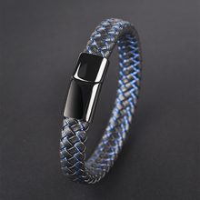 Jiayiqi New Men Jewelry Punk Black Blue Braided Leather Bracelet for Men Stainless Steel Magnetic Clasp Fashion Bangles Gifts(China)