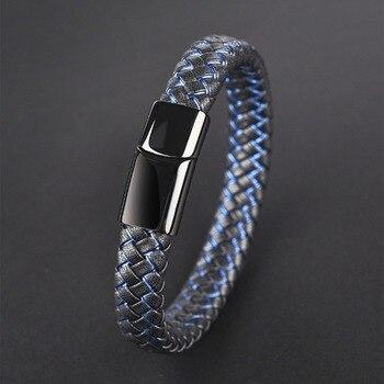 3835ad83d249 Jiayiqi nuevo hombre joyería Punk Negro Azul trenzado pulsera de cuero para  hombres Acero inoxidable Cierre magnético brazaletes de moda regalos
